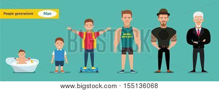 Man aging set. Smiling positive boy from a baby to an old man. People generations at different ages. Growing from age. Flat illustration