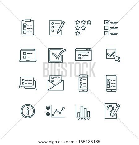 Online test, internet quiz, questionnaire, survey, exam, quizzes thin line vector icons. Linear checklist for feedback, stats list illustration poster