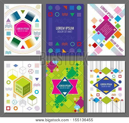 Abstract geometric vector banners, posters, flyers set in bauhaus design style. Hipster colored chaotic style illustration poster