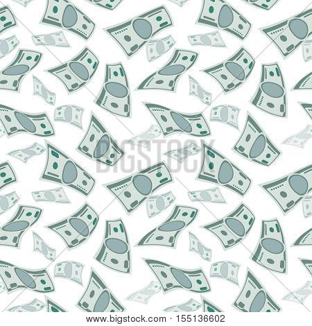 Money wind stream, paper cash tornado finance concept. seamless flying dollars background. Falling financial jackpot, stream illustration