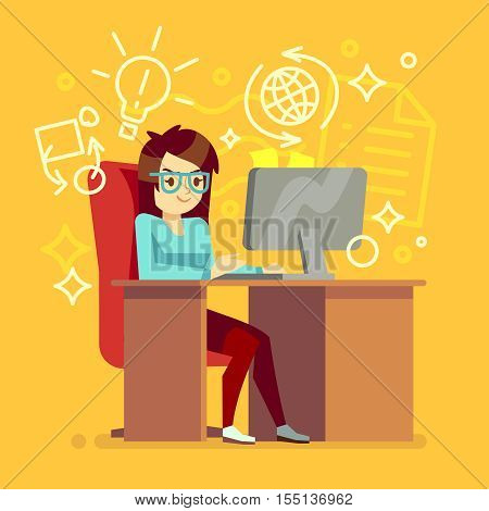 Creative girl work at home office with computer vector illustration. Woman freelancer or secretary character