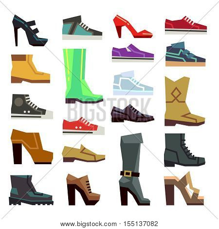 Different footwear casual shoes vector set. Fashion boot to man or woman illustration