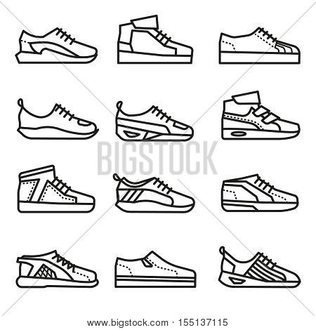 Sneakers, running shoes vector thin line icons set. Linear group of footwear illustration