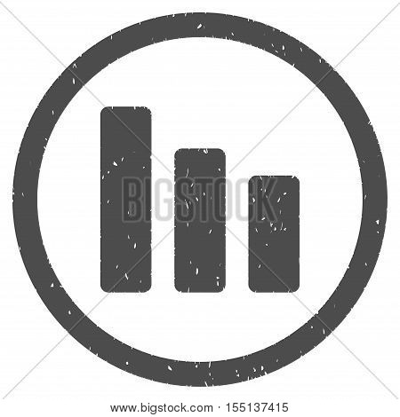 Bar Chart Decrease rubber seal stamp watermark. Icon symbol inside circle frame with grunge design and dust texture. Scratched vector ink sign on a white background.