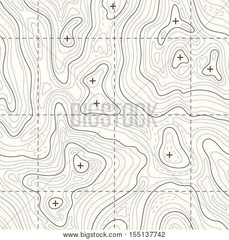 Contour elevation topographic seamless vector map. Landscape map for travel to mountain illustration