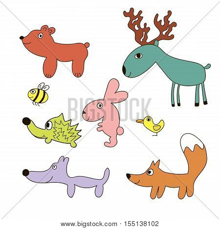 Childish cartoon forest wild animals set. Bird, fox, wolf, hare, hedgehog, bear, bee, elk. Lovely childish animals in cartoon style. Can be used for wallpapers, pattern, backgrounds surface textures