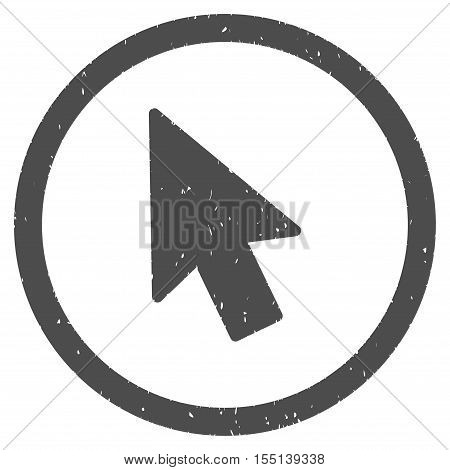 Mouse Pointer rubber seal stamp watermark. Icon symbol inside circle frame with grunge design and dirty texture. Scratched vector ink emblem on a white background.