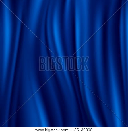 Blue silk, satin material wavy luxury vector background. Soft and smooth fabric illustration