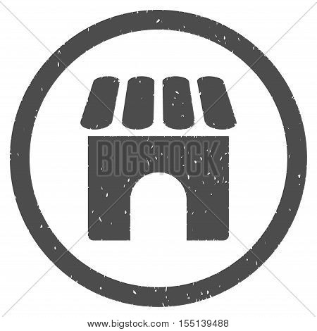 Shop Building rubber seal stamp watermark. Icon symbol inside circle frame with grunge design and corrosion texture. Scratched vector ink sign on a white background.