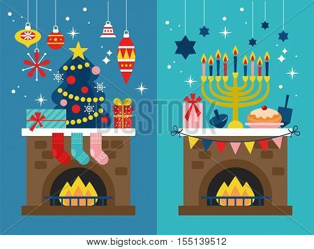 Christmas and Hanukkah holiday celebration banner design