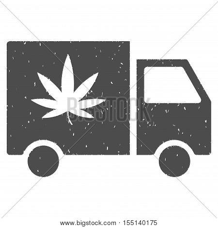 Cannabis Delivery Van rubber seal stamp watermark. Icon symbol with grunge design and unclean texture. Scratched vector gray ink sign on a white background.