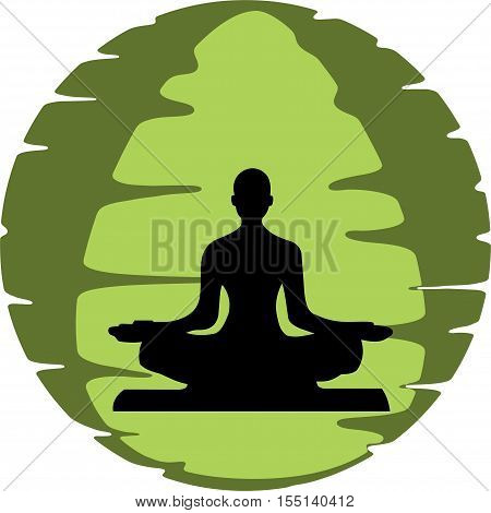 Yoga workout with the meditation position with green background