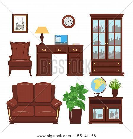 Set of classic home office furniture elements for cabinet, library, parlour. Home working place with bookcase, armchair, sofa, picture, desk, leather furniture, reading lamp, cache pot, globe laptop
