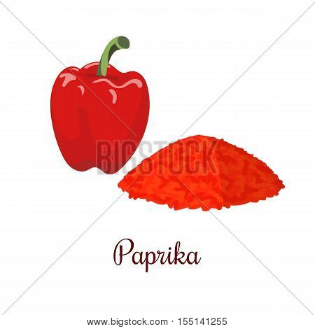 Paprika realistic style isolated on white background. Paprika powder. Spice symbol. For food design, restaurant, store, market, natural health care products. Can be used as logo, price tag, label