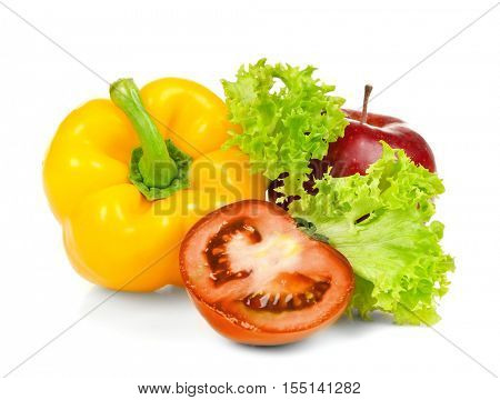 Group of fresh vegetables and fruits on white background