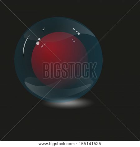Two glass sphere Design image author work circle red and green with the shadow of a black background flare light amount of an object transparent drawing eps10 vector illustration Stock