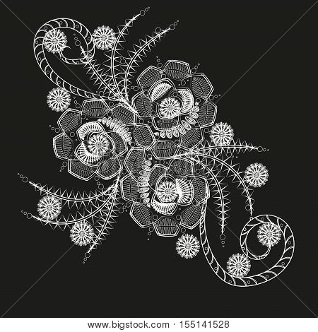 Three flower white pattern or tattoo Ornament bouquet abstraction author openwork pattern design drawing handmade leaf style asymmetrical petal graphic line point on the skin henna decoration eps10 stock vector illustration
