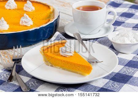 Slice Of Pumpkin Tart - Traditional Dessert For Festive Dinner