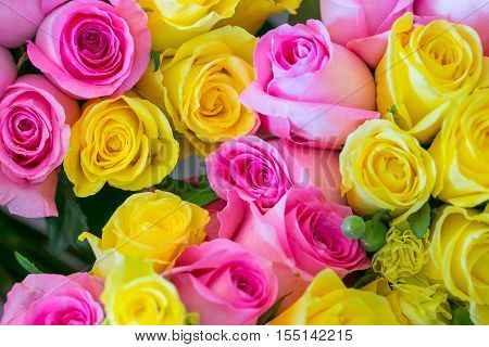 Bouquet Of Multicolored Roses For Wedding Ceremony