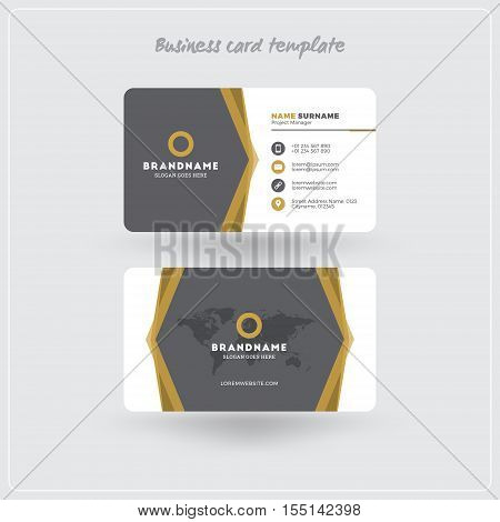Golden And Gray Business Card Print Template. Personal Visiting Card With Company Logo. Clean Flat D