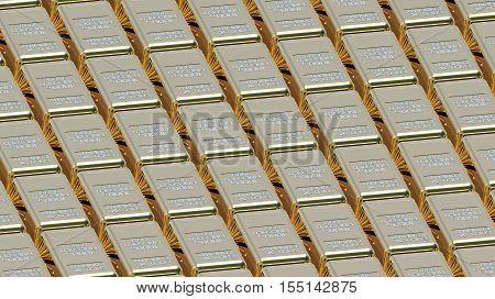Array of gold bullions 3d render money concept