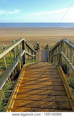 Steps leading down to the beach at Maplethorpe in Lincolnshire