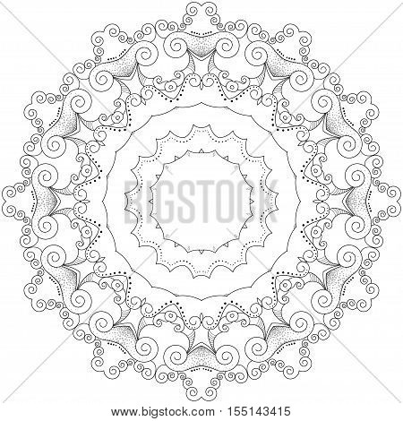 Abstract round lace delicate monochrome spiral pattern.