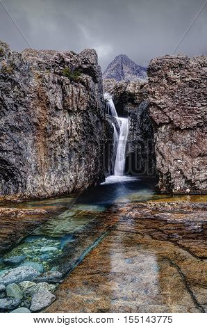 Early morning in Fairy Pools Glen Brittle Isle of Skye Inner Hebrides Highlands Scotland