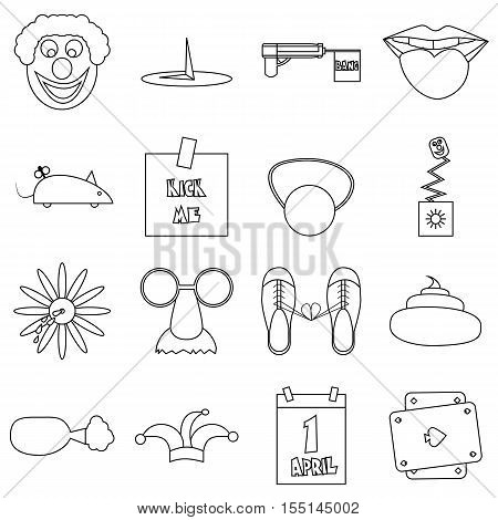 April fools day icons set. Outline illustration of 16 April fools day vector icons for web