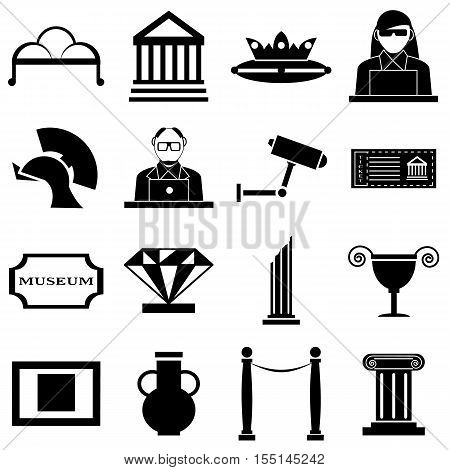 Museum icons set. Simple illustration of 16 museum vector icons for web