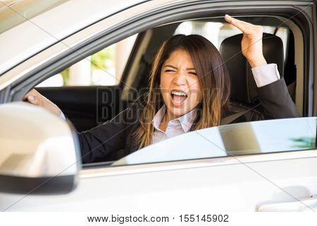 Young Woman With Road Rage