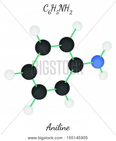 Aniline C6H7N molecule isolated on white in vector