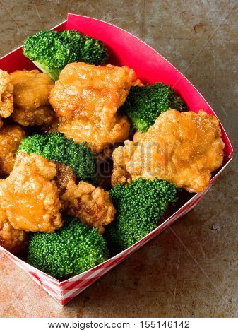 close up of rustic american chinese takeout general tso chicken