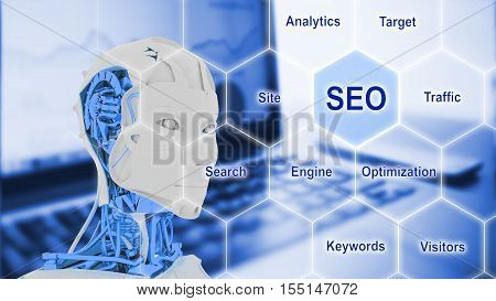 Female robot looking at the word SEO on a hexagon grid with a business background and search engine optimization keywords 3D illustration