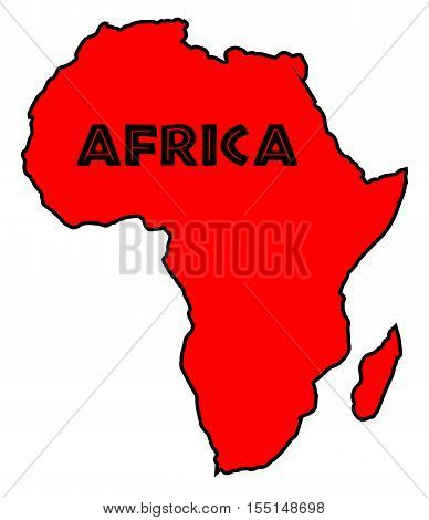 Red silhouette outline map of Africa over a white background