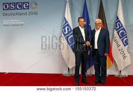 POTSDAM GERMANY. SEPTEMBER 1ST 2016: Federal Foreign Minister Dr Frank-Walter Steinmeier welcomes Kristian Jensen Minister for Foreign Affairs of Kingdom of Denmark to the Informal OSCE Foreign Minister's Meeting held in Potsdam Germany