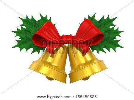Golden Christmas Bells isolated on white background. 3D render