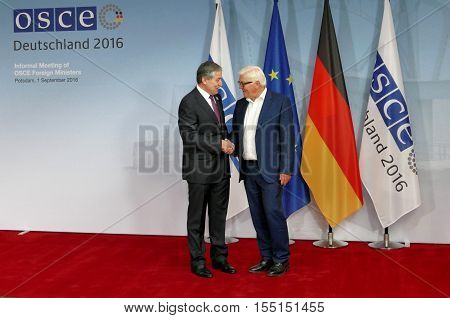 POTSDAM GERMANY. SEPTEMBER 1ST 2016: Federal Foreign Minister Dr Frank-Walter Steinmeier welcomes Sirodjidin Aslov Minister of Foreign Affairs of the Republic of Tajikistan to the Informal OSCE Foreign Minister's Meeting held in Potsdam Germany