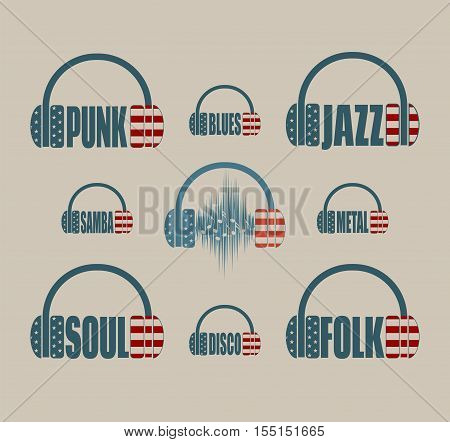 Silhouettes of headphones with text. Textured by USA flag. Various music genres