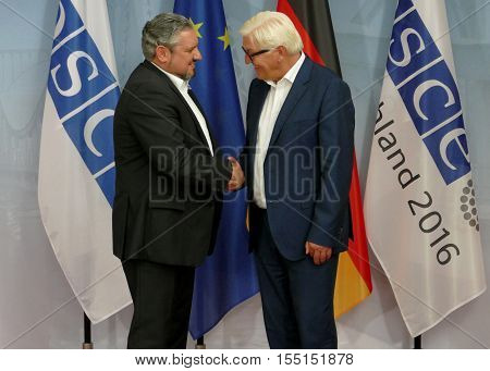 POTSDAM GERMANY. SEPTEMBER 1ST 2016: Federal Foreign Minister Dr Frank-Walter Steinmeier welcomes Andrei Galburm Minister of Foreign Affairs and European Integration of the Republic of Moldova to the Informal OSCE Foreign Minister's Meeting held in Potsda