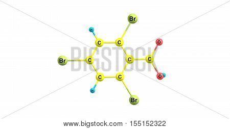 246-Tribromobenzoic acid. 3d horizontal illustration of acid on white