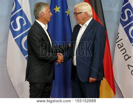 POTSDAM GERMANY. SEPTEMBER 1ST 2016: Federal Foreign Minister Dr Frank-Walter Steinmeier welcomes Didier Burkhalter Head of the Federal Department of Foreign Affairs of Swiss Confederation to the Informal OSCE Foreign Minister's Meeting held in Potsdam Ge