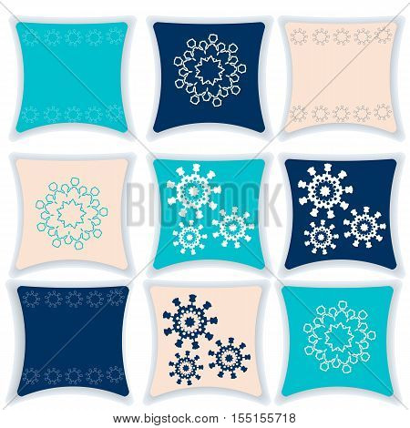 Pillow vector illustration. Set pillows winter lace. Festive pillows for the interior. Pillow isolated on white background