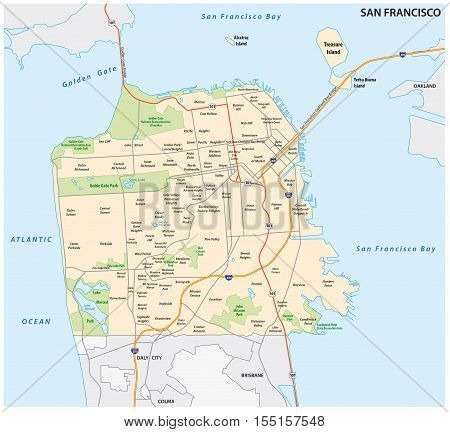 San Francisco road and neighborhood vector map