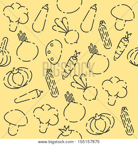 Vegetables set pattern. Vegetables Colorful background. Lettuce, onions, garlic, asparagus, mushrooms radishes bell peppers tomatoes carrots cucumbers eggplant