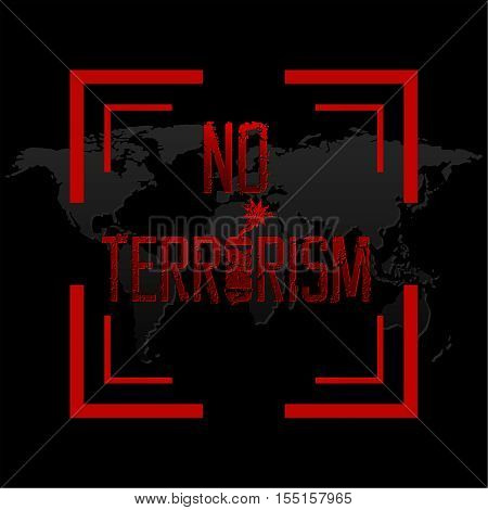 The vector illustration expressing the concept terror under a sight. Terrorism has to be destroyed. To stop the extremist organizations. World under the threat.