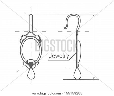 Jewelry production sketch isolated on white. Jewelry designer works on hand drawing sketch of earrings. Draft outline of diamond earrings design. Project of brilliant ornamental earrings. Vector