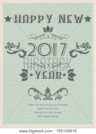 2017 HAPPY NEW YEARS RETRO POSTER FLAYER VINTAGE