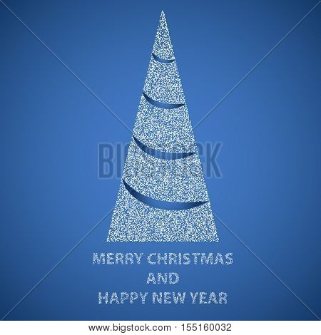 Abstract triangual Merry christmas and happy new year tree filled by white dots on blue background