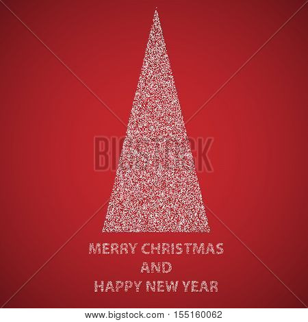 Abstract triangual Merry christmas and happy new year tree filled by white dots on red background